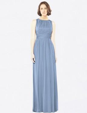A-Line Bateau Floor Length Long Dusty Blue Chiffon Emilia Bridesmaid Dress for Sale
