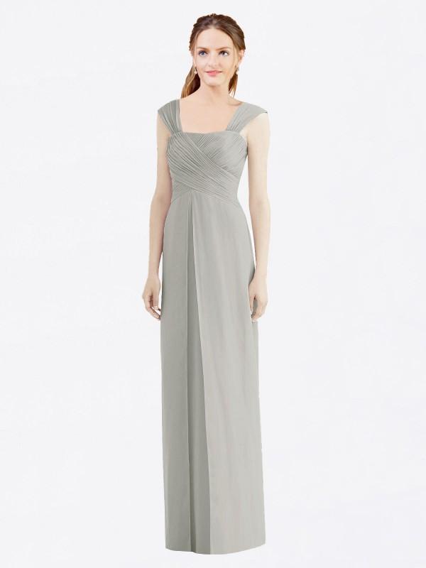 A-Line Bateau Floor Length Long Silver Chiffon Josefina Bridesmaid Dress for Sale