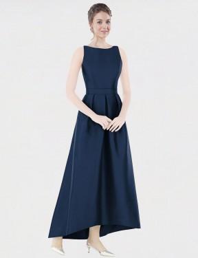 A-Line Bateau High Low Floor Length Long Dark Navy Satin Mikayla Bridesmaid Dress for Sale