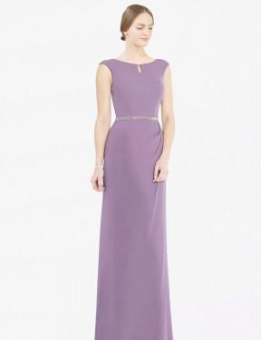 A-Line Bateau High Neck Floor Length Long Dark Lavender Chiffon Cherry Bridesmaid Dress for Sale
