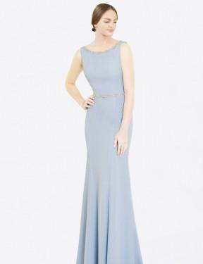 A-Line Bateau High Neck Floor Length Long Light Sky Blue Chiffon Frankie Bridesmaid Dress for Sale