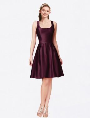 A-Line Bateau Knee Length Short Bordeaux Satin Nia Bridesmaid Dress for Sale