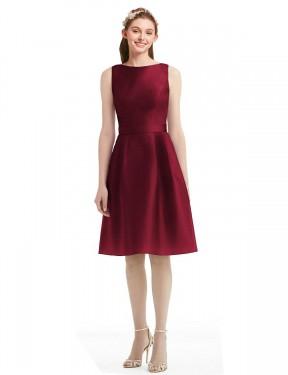 A-Line Bateau Knee Length Short Burgundy Satin Addilyn Bridesmaid Dress for Sale