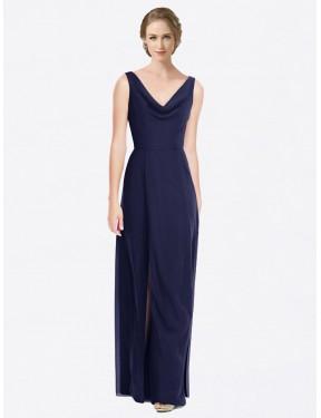 A-Line Cowl Floor Length Long Dark Navy Chiffon Belen Bridesmaid Dress for Sale