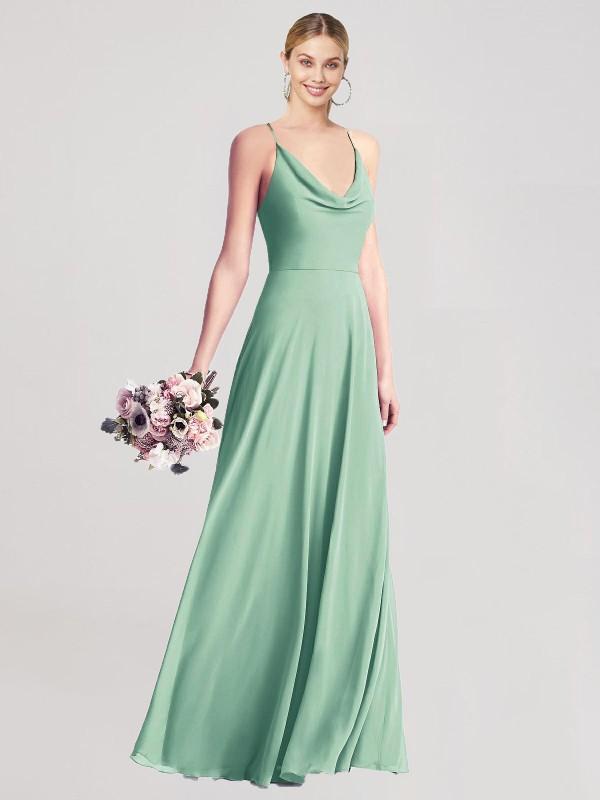A-Line Cowl Neck Spaghetti Straps Floor Length Long Mint Green Chiffon Tanina Bridesmaid Dress for Sale