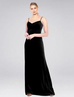 A-Line Cowl Spaghetti Straps Floor Length Long Black Stretch Velvet Saliba Bridesmaid Dress for Sale