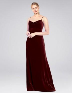 A-Line Cowl Spaghetti Straps Floor Length Long Burgundy Stretch Velvet Saliba Bridesmaid Dress for Sale