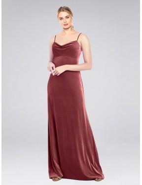 A-Line Cowl Spaghetti Straps Floor Length Long Cinnamon Rose Stretch Velvet Saliba Bridesmaid Dress for Sale