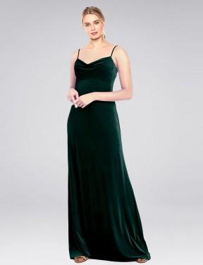 A-Line Cowl Spaghetti Straps Floor Length Long Dark Green Stretch Velvet Saliba Bridesmaid Dress for Sale