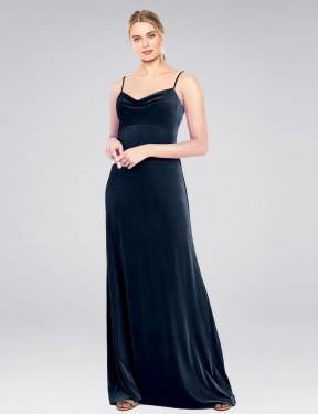 A-Line Cowl Spaghetti Straps Floor Length Long Dark Navy Stretch Velvet Saliba Bridesmaid Dress for Sale