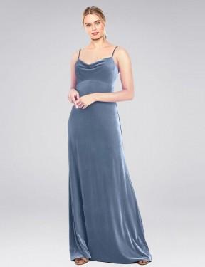 A-Line Cowl Spaghetti Straps Floor Length Long Dusty Blue Stretch Velvet Saliba Bridesmaid Dress for Sale