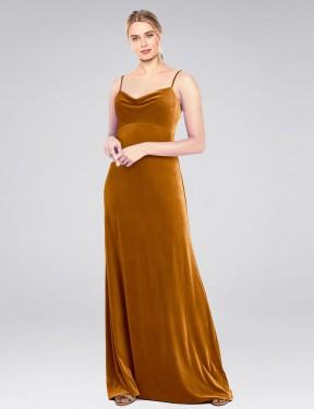A-Line Cowl Spaghetti Straps Floor Length Long Gold Stretch Velvet Saliba Bridesmaid Dress for Sale