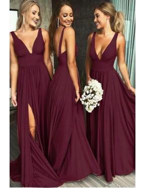 A-Line Deep V-Neck Floor Length Long Burgundy Gold Spandex Caylee Bridesmaid Dress for Sale