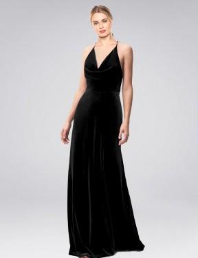 A-Line Halter Cowl Spaghetti Straps Floor Length Long Black Stretch Velvet Kwete Bridesmaid Dress for Sale
