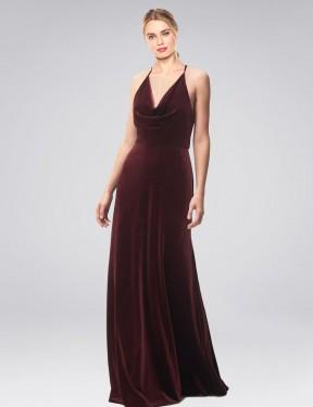 A-Line Halter Cowl Spaghetti Straps Floor Length Long Burgundy Stretch Velvet Kwete Bridesmaid Dress for Sale