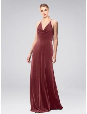 A-Line Halter Cowl Spaghetti Straps Floor Length Long Cinnamon Rose Stretch Velvet Kwete Bridesmaid Dress for Sale
