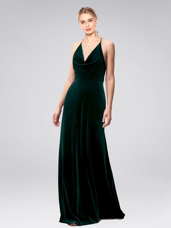 A-Line Halter Cowl Spaghetti Straps Floor Length Long Dark Green Stretch Velvet Kwete Bridesmaid Dress for Sale