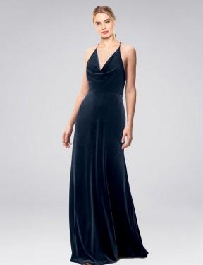A-Line Halter Cowl Spaghetti Straps Floor Length Long Dark Navy Stretch Velvet Kwete Bridesmaid Dress for Sale