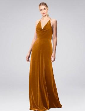 A-Line Halter Cowl Spaghetti Straps Floor Length Long Gold Stretch Velvet Kwete Bridesmaid Dress for Sale