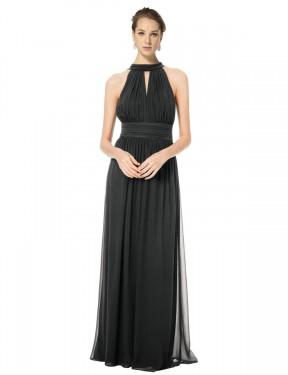 A-Line Halter Floor Length Long Black Chiffon Caroline Bridesmaid Dress for Sale