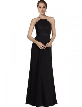 A-Line Halter Floor Length Long Black Chiffon & Lace Kinslee Bridesmaid Dress for Sale