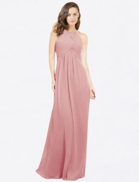 A-Line Halter Floor Length Long Bliss Chiffon Robyn Bridesmaid Dress for Sale