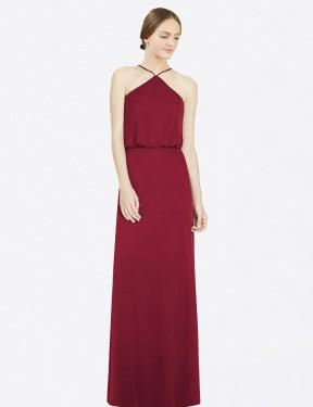 A-Line Halter Floor Length Long Burgundy Chiffon Ansley Bridesmaid Dress for Sale