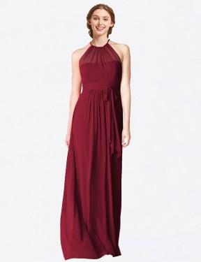A-Line Halter Floor Length Long Burgundy Chiffon Laura Bridesmaid Dress for Sale
