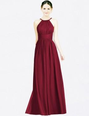A-Line Halter Floor Length Long Burgundy Chiffon Melanie Bridesmaid Dress for Sale