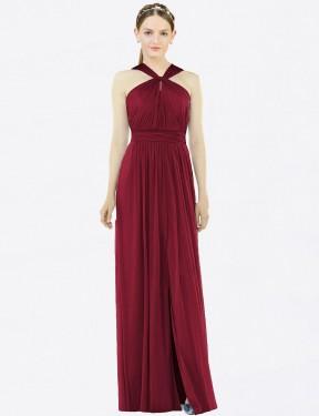 A-Line Halter Floor Length Long Burgundy Chiffon Scarlet Bridesmaid Dress for Sale
