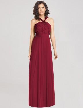 A-Line Halter Floor Length Long Burgundy Chiffon Thelma Bridesmaid Dress for Sale