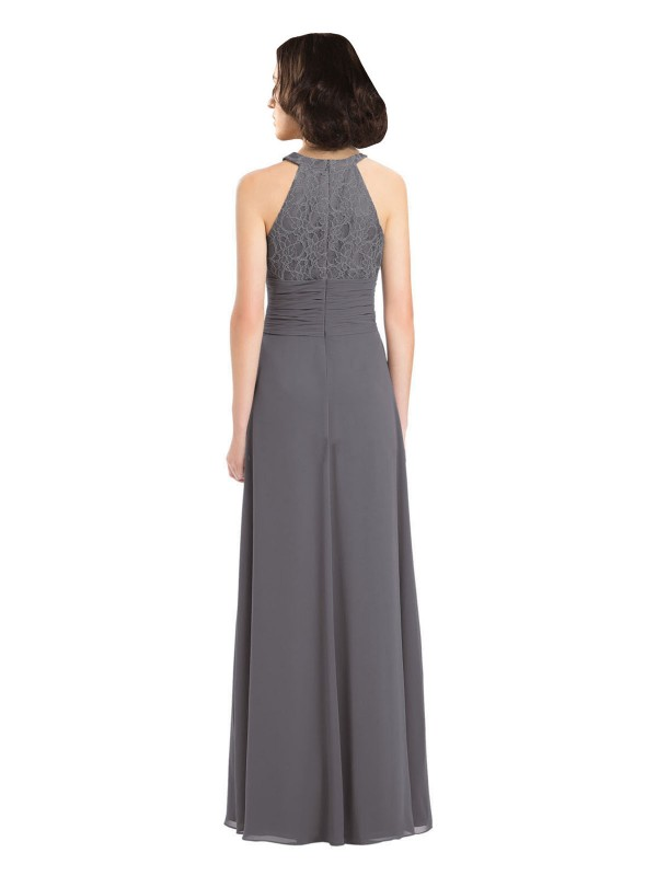 A-Line Halter Floor Length Long Stormy Silver Chiffon & Lace Hailey Bridesmaid Dress for Sale