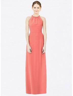 A-Line Halter Floor Length Long Coral Chiffon Thalia Bridesmaid Dress for Sale