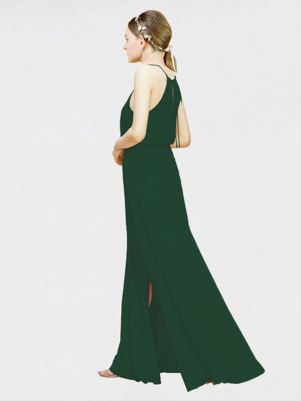 A-Line Halter Floor Length Long Dark Green Chiffon Elahe Bridesmaid Dress for Sale