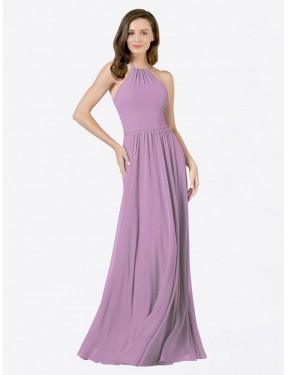 A-Line Halter Floor Length Long Dark Lavender Chiffon Anum Bridesmaid Dress for Sale