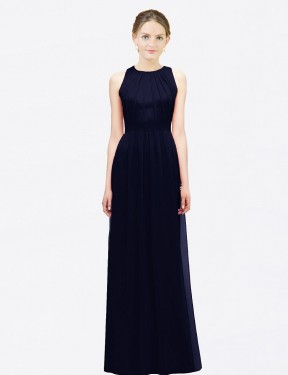 A-Line Halter Floor Length Long Dark Navy Chiffon Charleigh Bridesmaid Dress for Sale