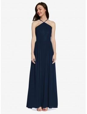 A-Line Halter Floor Length Long Dark Navy Chiffon Raya Bridesmaid Dress for Sale