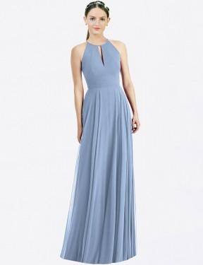 A-Line Halter Floor Length Long Dusty Blue Chiffon Amanda Bridesmaid Dress for Sale