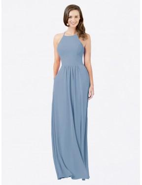A-Line Halter Floor Length Long Dusty Blue Chiffon Cindy Bridesmaid Dress for Sale