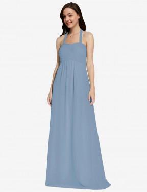 A-Line Halter Floor Length Long Dusty Blue Chiffon Lottie Bridesmaid Dress for Sale