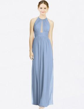 A-Line Halter Floor Length Long Dusty Blue Chiffon Nala Bridesmaid Dress for Sale
