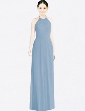 A-Line Halter Floor Length Long Dusty Blue Chiffon Penny Bridesmaid Dress for Sale