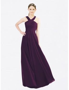 A-Line Halter Floor Length Long Grape Chiffon Alannah Bridesmaid Dress for Sale