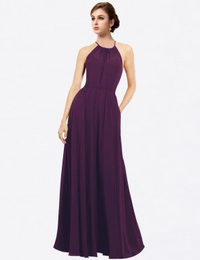 A-Line Halter Floor Length Long Grape Chiffon Taylor Bridesmaid Dress for Sale