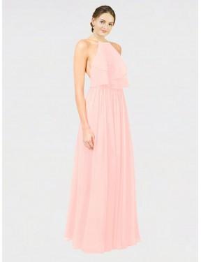 A-Line Halter Floor Length Long Ice Pink Chiffon Kenya Bridesmaid Dress for Sale