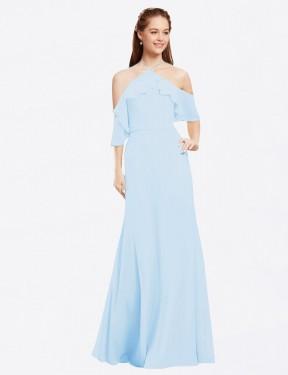 A-Line Halter Floor Length Long Light Sky Blue Chiffon Glain Bridesmaid Dress for Sale