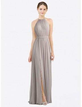 A-Line Halter Floor Length Long Oyster Silver Chiffon Maliah Bridesmaid Dress for Sale