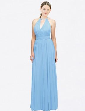 A-Line Halter Floor Length Long Periwinkle Chiffon Bexley Bridesmaid Dress for Sale