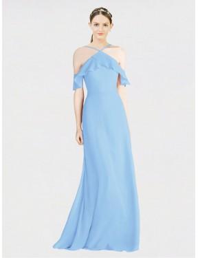 A-Line Halter Floor Length Long Periwinkle Chiffon Rylan Bridesmaid Dress for Sale