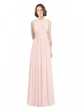 A-Line Halter Floor Length Long Pink Chiffon Paisley Bridesmaid Dress for Sale